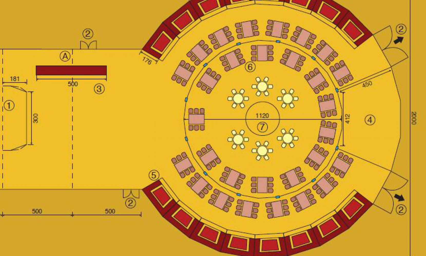 Het Spiegelpaleis - Mirror tent Teatro Colombino - seating plan